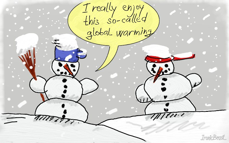 Global warming and snowman